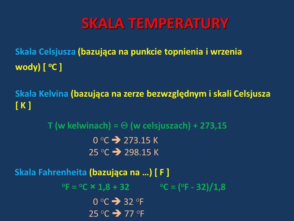 SKALA TEMPERATURYSkala Celsjusza (bazująca na punkcie topnienia i wrzenia wody) [ oC ]